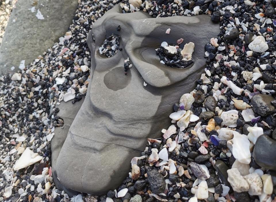 顔っぽい石